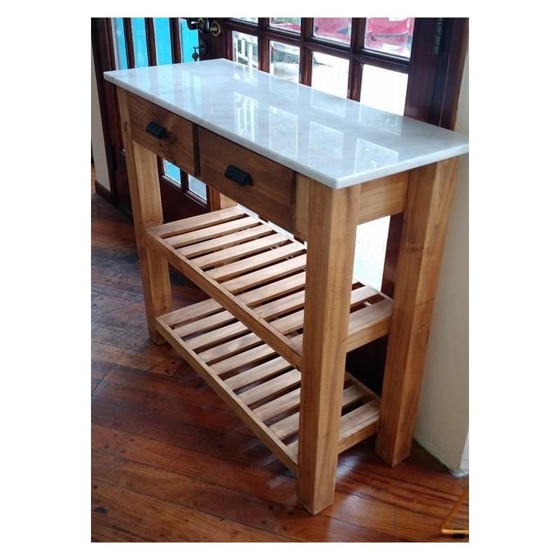 Mesa auxiliar de cocina con tapa de marmol for Mesa auxiliar cocina con ruedas